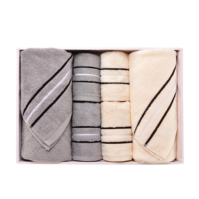 金号 清然/系列-17 两浴方巾两毛巾礼盒装HY3118 混色