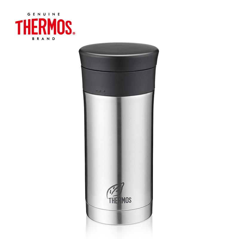 膳魔师(THERMOS)保温杯 带茶隔 CMK-351(SBK)  不锈钢色