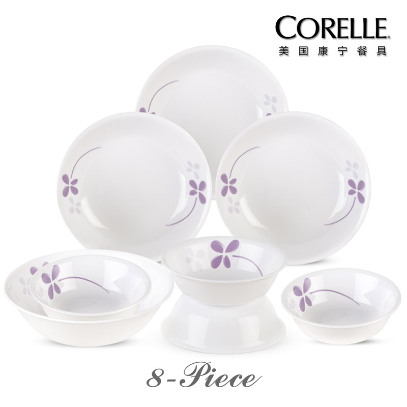 CORELLE 美国康宁餐具 – 紫色幸运草系列CR-NWP02(八件套)  白色