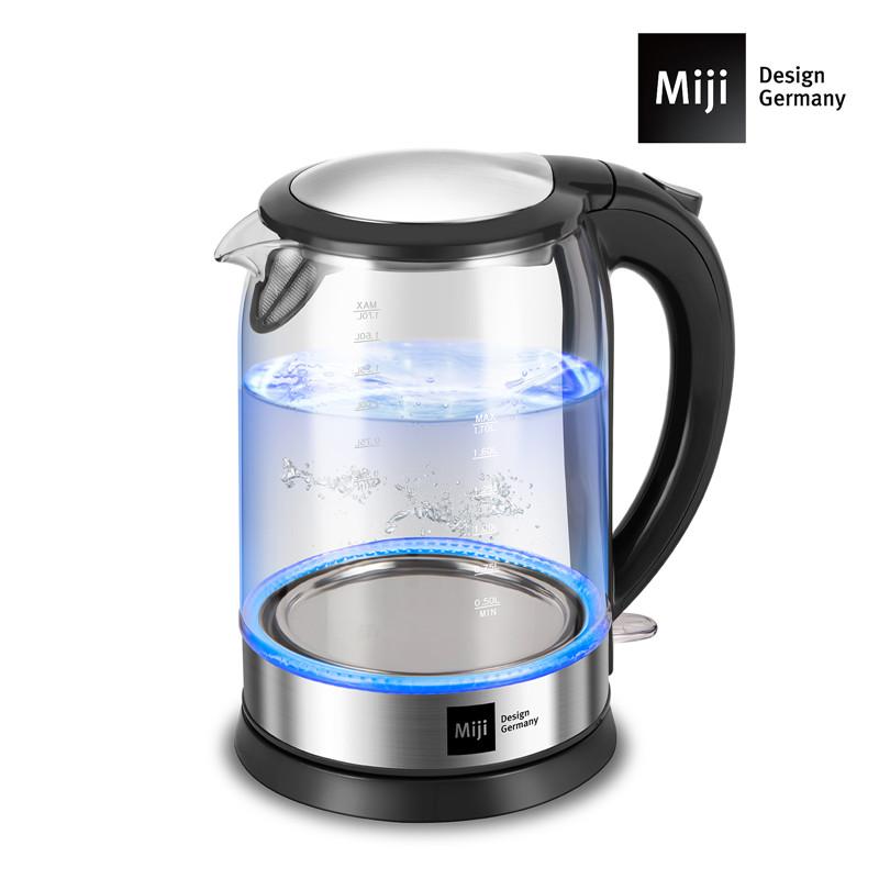 德国Miji 米技 高硼硅玻璃电热水壶 1.7LHK-4006 黑色