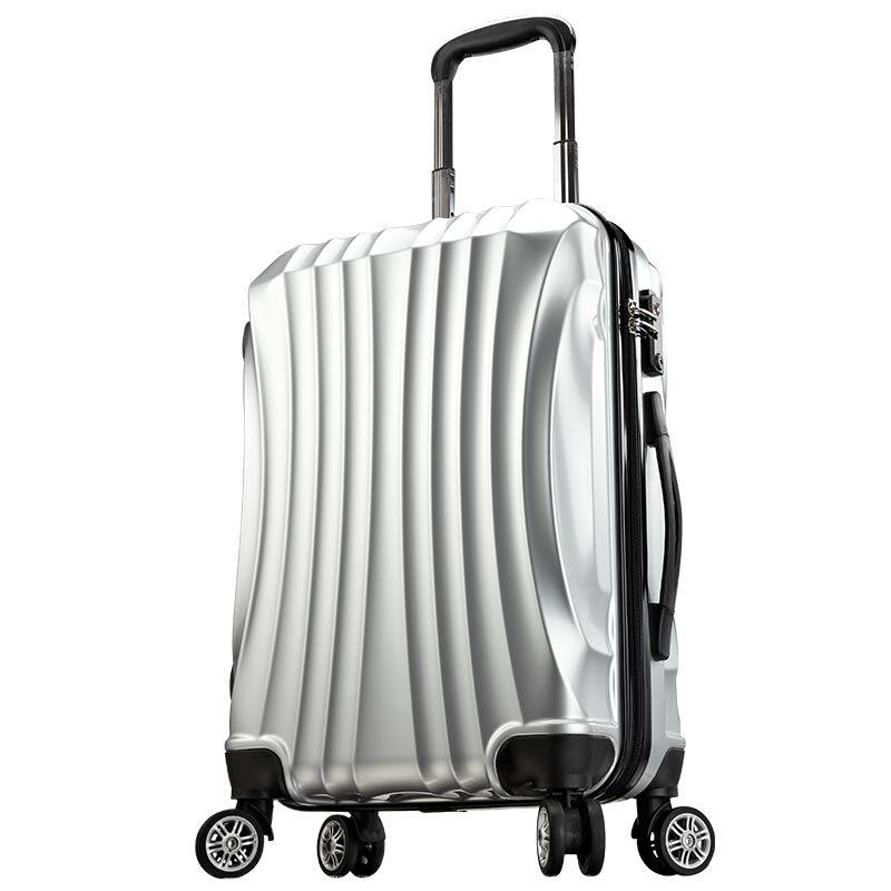 维仕蓝(Wissblue)万向轮拉杆箱20寸登机箱男女行李箱密码硬箱20寸C904536 银色 20寸