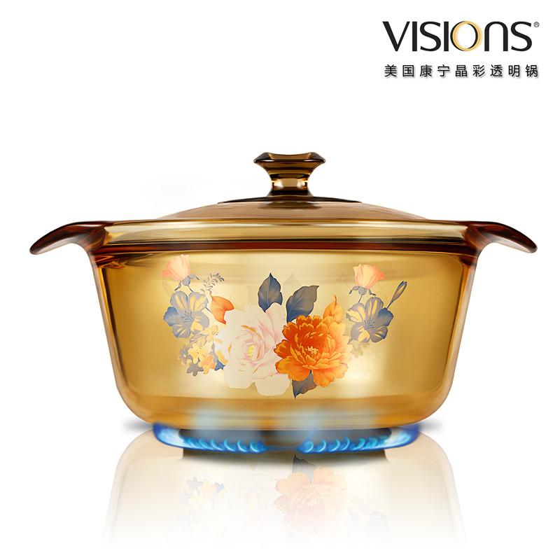 VISIONS 美国康宁晶彩透明锅 时尚花卉系列 1.6公升超耐热透明玻璃煮锅  橙色VS-16-FL-FLR 橙色