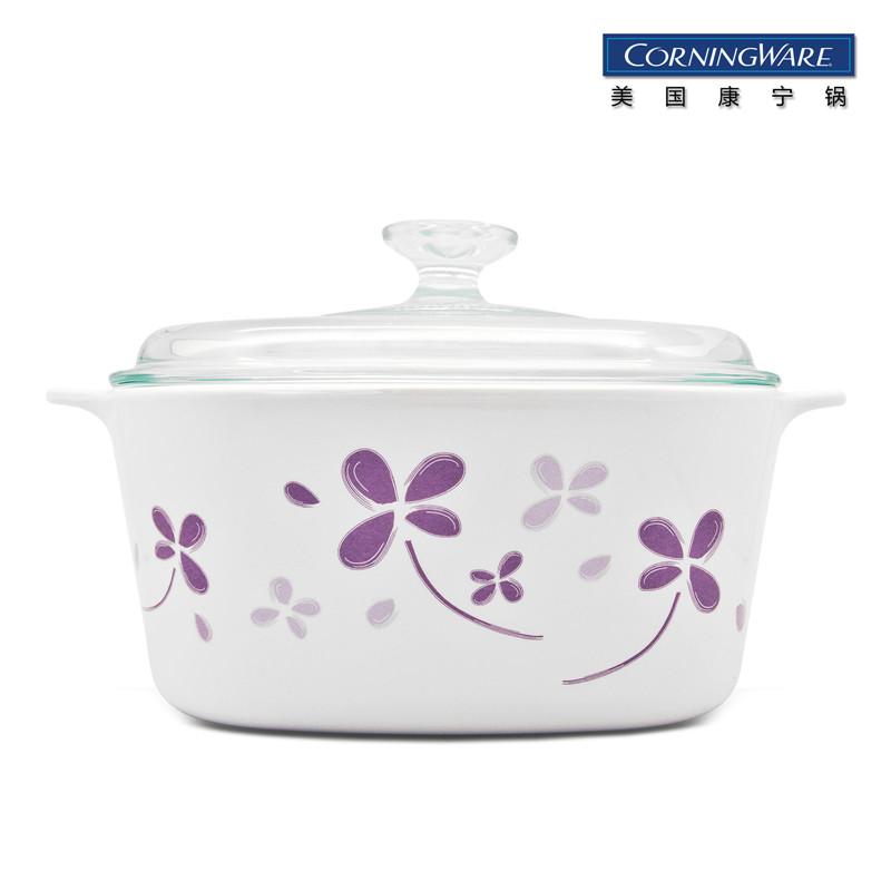 CORNINGWARE 美国康宁锅 方形超耐热玻璃锅 紫色幸运草系列 A-3-SHE1/CN(3L 方形煮锅) 白色