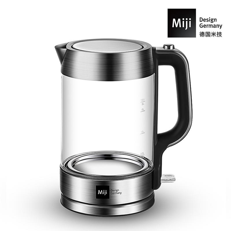 德国Miji 米技 1.8升 肖特玻璃高硼硅玻璃电热水壶HK-3301 白色
