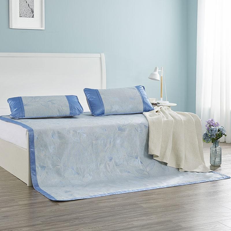 罗莱家纺 叶语阑珊冰丝席三件套cm150*200CM 天蓝色