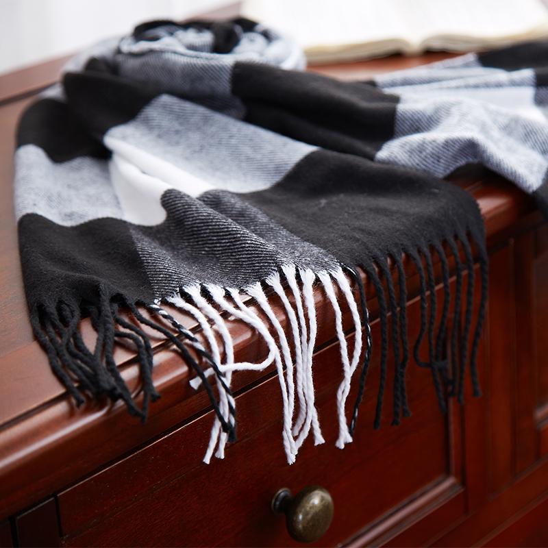 恒源祥保暖围巾(黑白灰格子)  混色