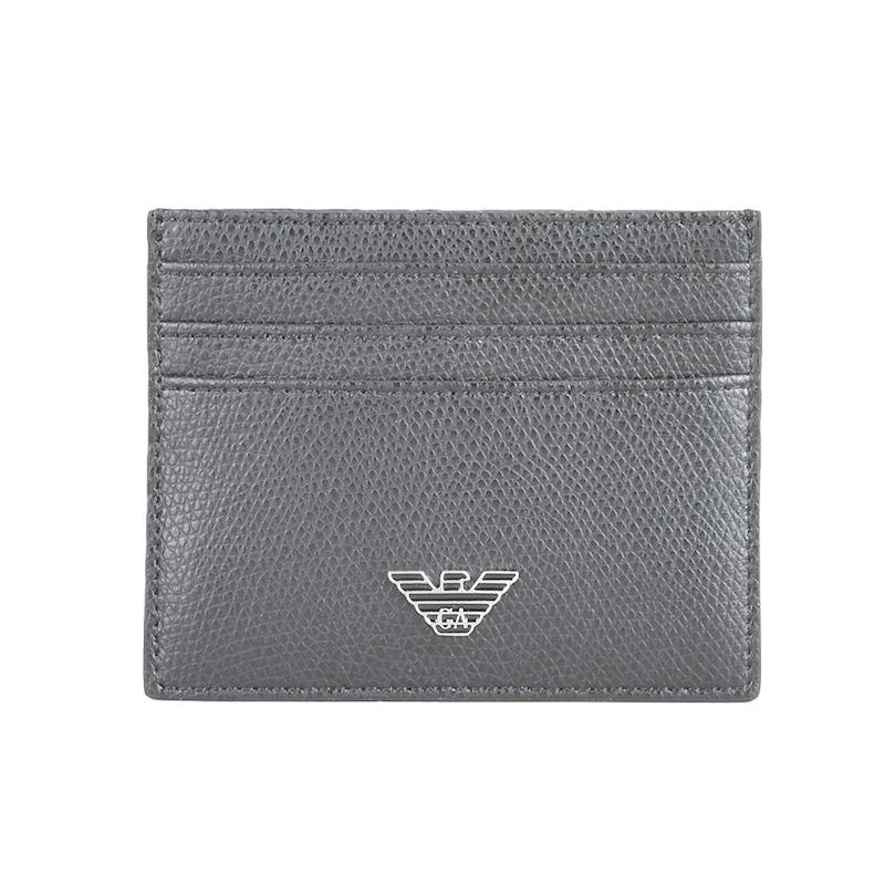 Emporio Armani 阿玛尼 黑色牛皮卡包卡夹 YEM320  灰色