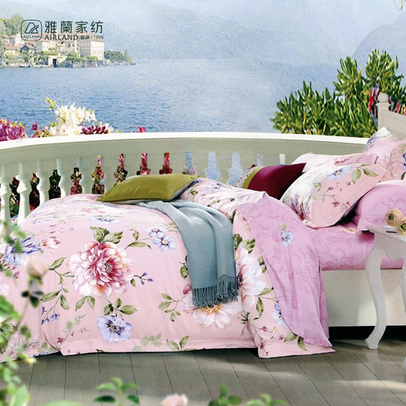 雅兰粉黛佳人床上四件套1.8床适用  粉红色