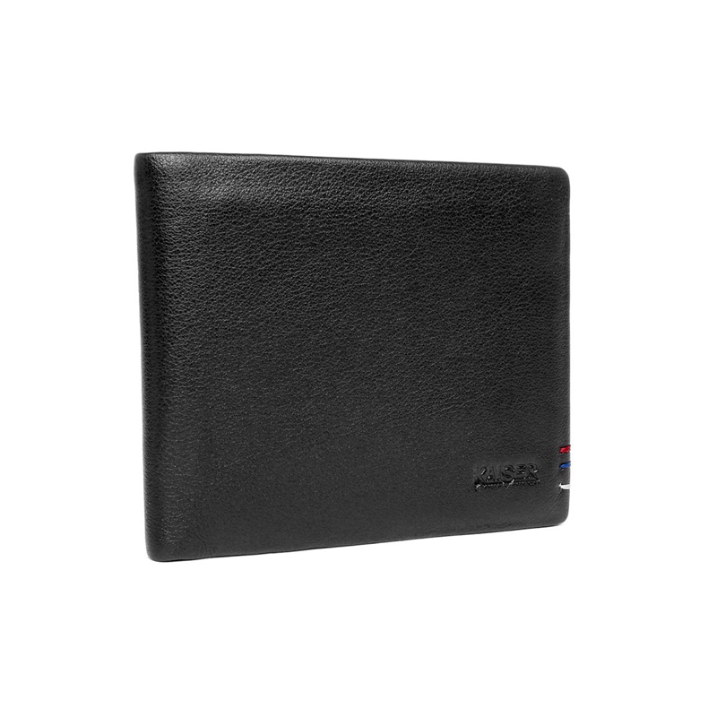 凯撒男款黑色牛皮时尚商务短款钱夹8139200301 黑色