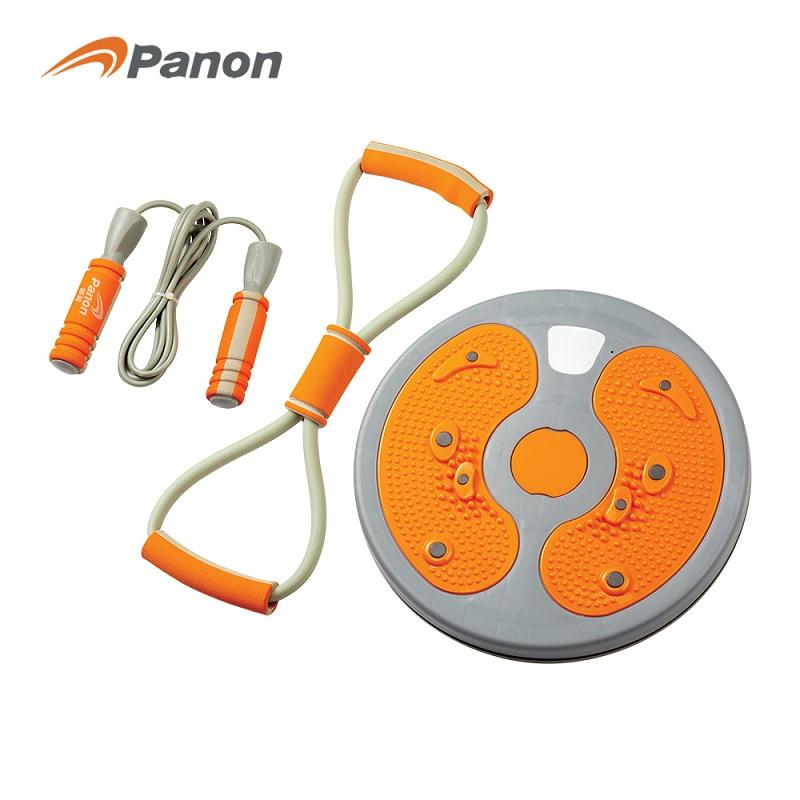 攀能 健身器材3件套 PN-5143 扭腰盘+拉力器+跳绳  橙色