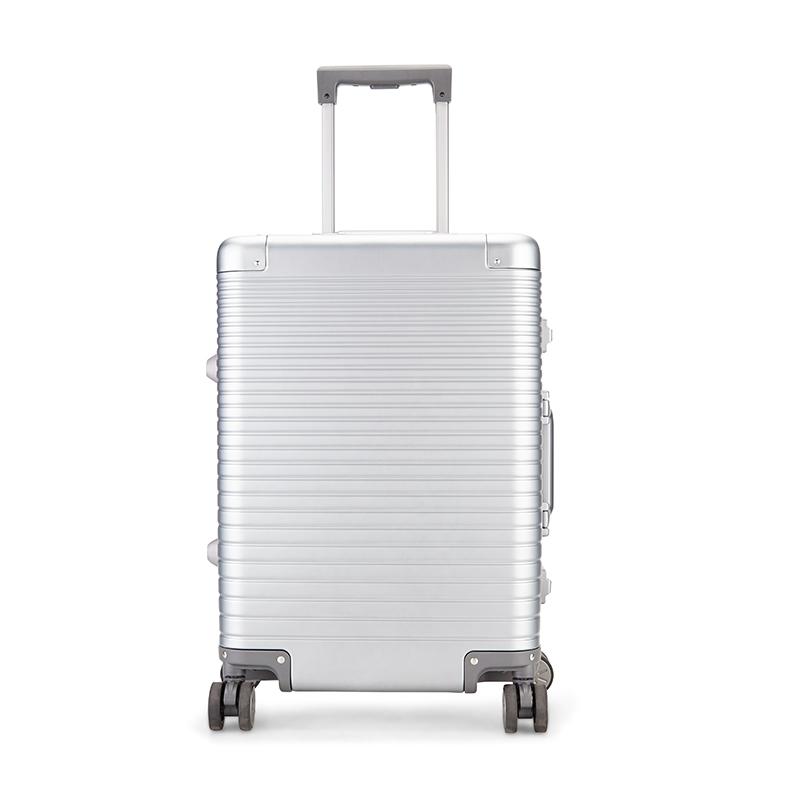 Diplomat外交官 旅行箱铝合金拉杆箱TSA密码锁旅行箱万向轮密码 枪色 20英寸镁铝合金拉杆箱YH-7752 银色 20寸