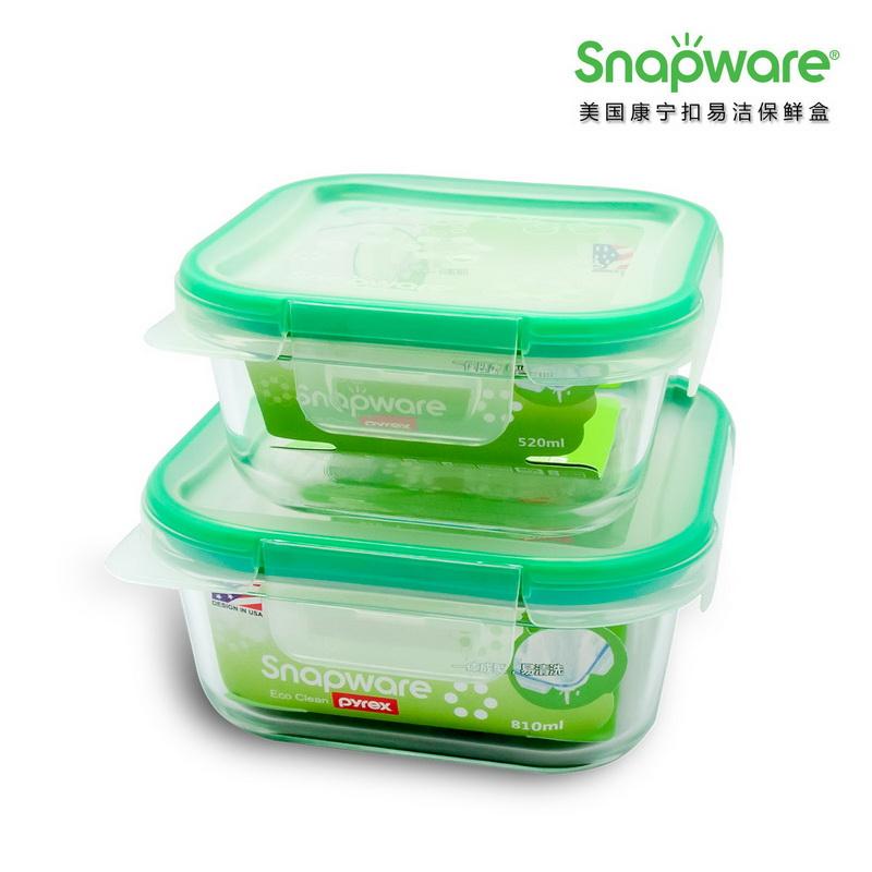 美国康宁ECO Clean易洁保鲜盒SW-EC49(两件套)  绿色   绿色