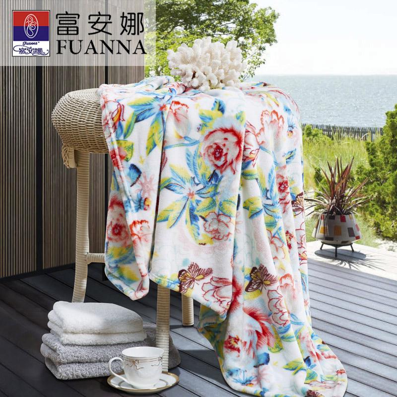 富安娜玫瑰盛年法兰绒毯80*120cm礼盒装 玫瑰盛年