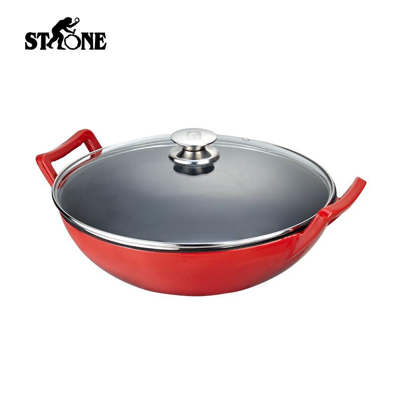 司顿34cm珐琅炒锅STH070 红色 红色