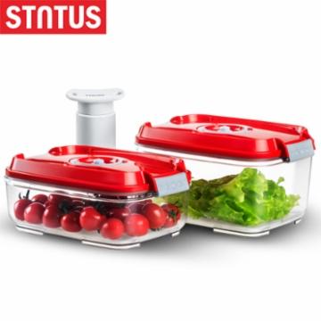 鲜途STNTUS 方形真空保鲜盒三件套(1.4L,2L.手动真空泵,含时间刻度盘)  (白色,蓝色,绿色,红色,颜色随机发)