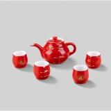和瓷 中添福茶具(红)-一壶四杯