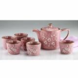 吉祥九头茶具一壶六杯-粉色